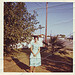 vintage: mom in a blue-green dress, 1962